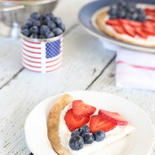 Red, White, and Blue Tortilla Pizza.