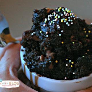Crockpot Hot Fudge Peanut Butter Chip Brownie Cake.