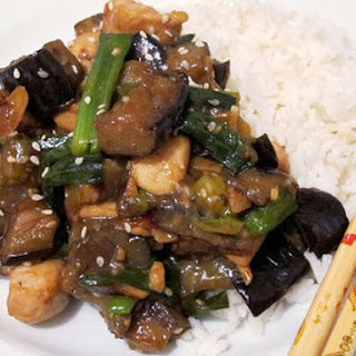Sesame Chicken and Eggplant.