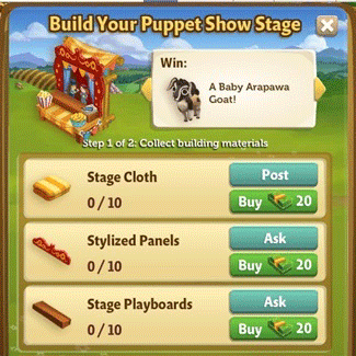 farmville 2 puppet show stage building requirement