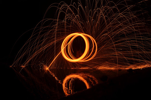 fire circle by P A - Abstract Light Painting ( painting, painting with light, fire, lamp, circle )
