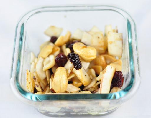 roasted nuts and raisins