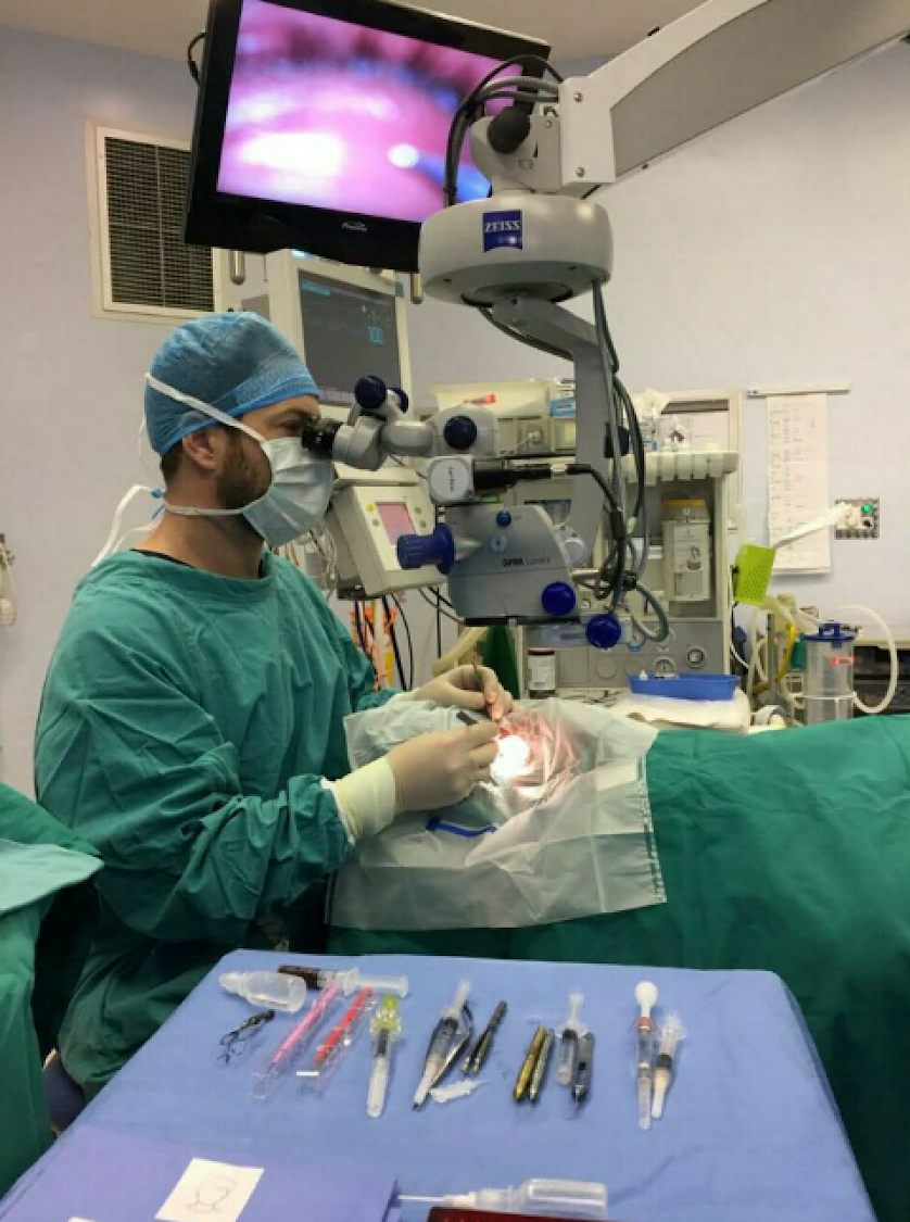 Dr Juan Deseta busy with a surgery at the Eye and Laser Institute