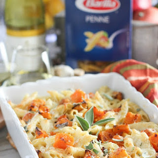 Roasted Butternut Squash with Penne and Garlic Cream Sauce.