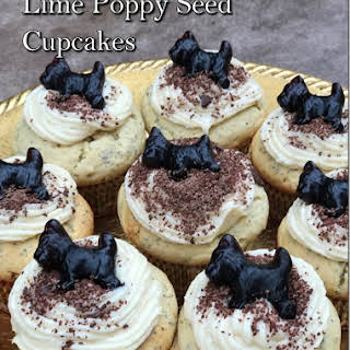 Lime Poppy Seed Cupcakes with Chocolate Dusted Vanilla Icing.