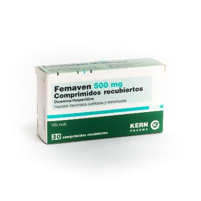 Diosmina + Hesperidina Femaven 500mg Coadyuvante en el tratamiento de la Insuficiencia Venosa Periférica Crónica y de los Plexos Hemorroidales.
