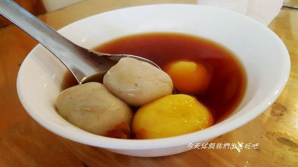 蘇媽媽湯圓。彩色湯圓很吸睛。鹹湯圓擄獲味蕾。還有肉燥飯可是必點