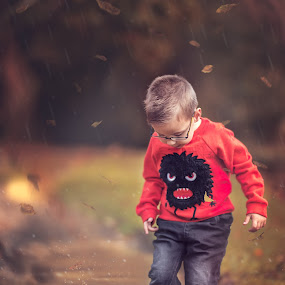 Rainy Autumn Afternoon  by Lazarina Karaivanova - Babies & Children Child Portraits ( rain autumn )