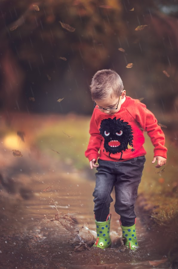 Rainy Autumn Afternoon  by Lazarina Karaivanova - Babies & Children Child Portraits ( rain autumn )