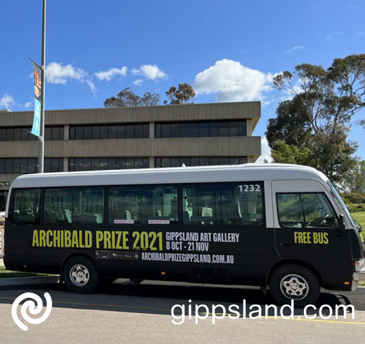 The Archie Bus is ready to transport visitors to Sale to various attractions and points of interest around town, including the Archibald Prize exhibition at Gippsland Art Gallery
