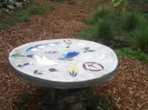 Non-edible... Phyllis' Cement/stained Glass Table