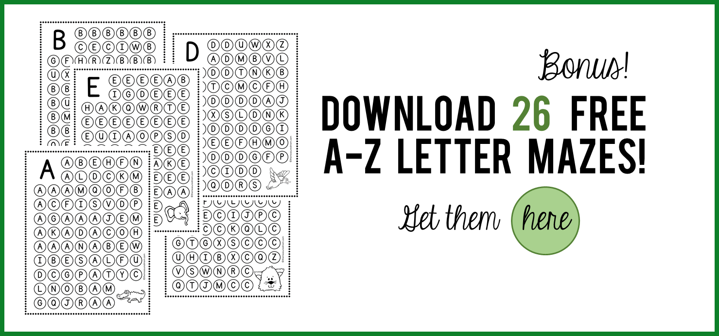 "Free ""find the letter"" alphabet worksheets The Measured Mom"