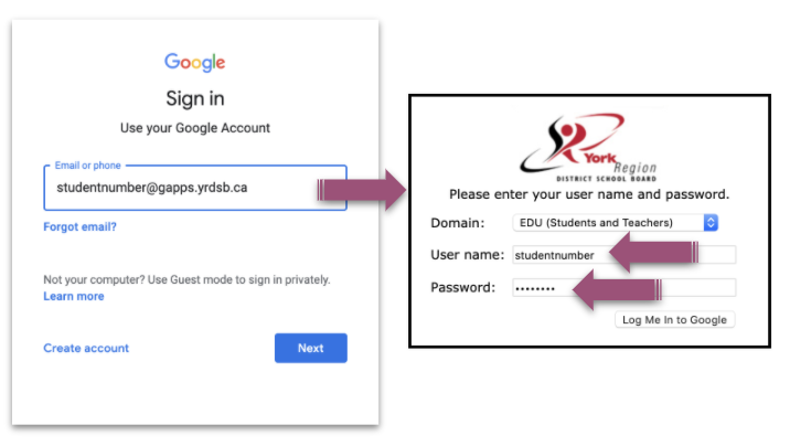 An image of the Google sign-in page is shown with the field for the student email. A purple arrow points to the YRDSB login page that follows with two purple arrows that point to the username and password fields.