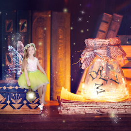 Book Fairy by Chris Cavallo - Digital Art People ( sparkle, digital manipulation, books, enchanted, fireflies, dream, wings, fairytale, fairy, digital art )