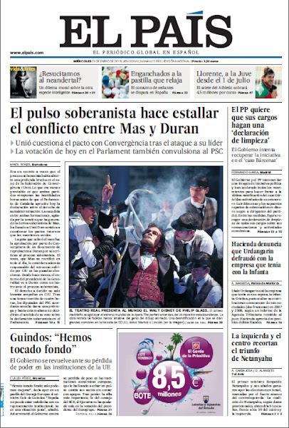 """Photo: En portada de EL PAÍS del miércoles 23 de enero: El pulso soberanista enfrenta a Mas y a Duran; La izquierda y el centro recortan el triunfo de Netanyahu en Israel; Guindos sobre la pérdida de poder de España en la UE: """"Hemos tocado fondo"""". http://ep00.epimg.net/descargables/2013/01/23/0f43579fe78efa1e35fdeb9c1880f226.pdf"""