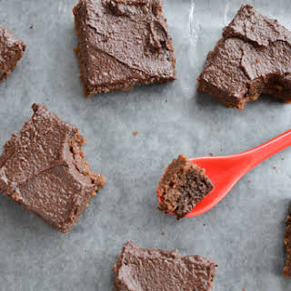 Quinoa Brownies with Chocolate Date Icing 8x8 square pan.