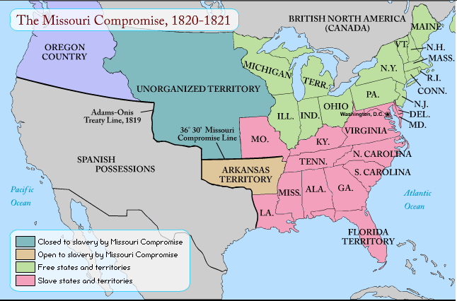 The Missouri Compromise THE EDUCATIONAL FORUM OF MR MICHELOT - Missouri compromise interactive map