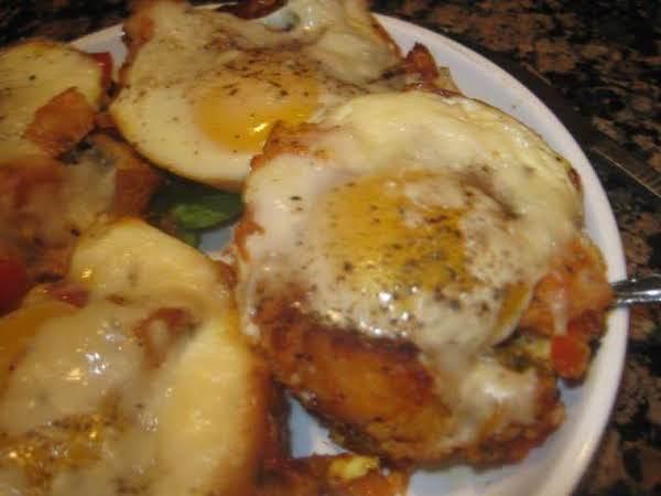 Sweet Potato Bacon Hash With Baked Eggs
