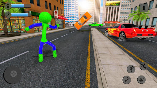 Flying Stickman Rope Hero Grand City Crime apkpoly screenshots 3