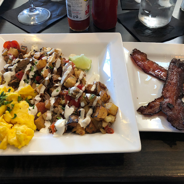 Carnitas hash and side of bacon