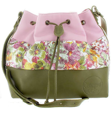 Säckväska rosa/mosaik/oliv 181 med blommigt foder