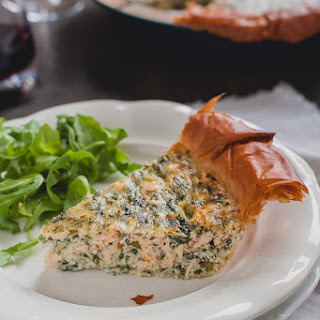 Salmon, Spinach and Quark Quiche with Phyllo Crust