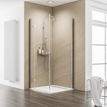 Paroi latérale pour porte de douche pivotante sur paroi fixe, 80 ou 90 cm