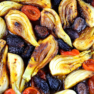 Braised Fennel with Apricots and Figs.