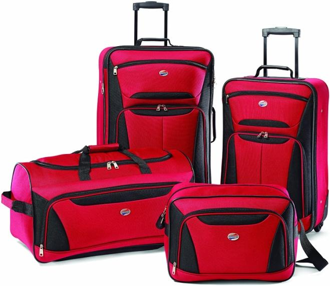 Amazon.com | American Tourister Fieldbrook II Softside Upright Luggage Set,  Red/Black, 4-Piece (tote/DF/21/25) | Luggage Sets