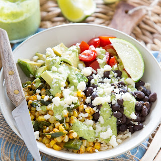 Burrito Bowl with Roasted Corn and Poblano Peppers.