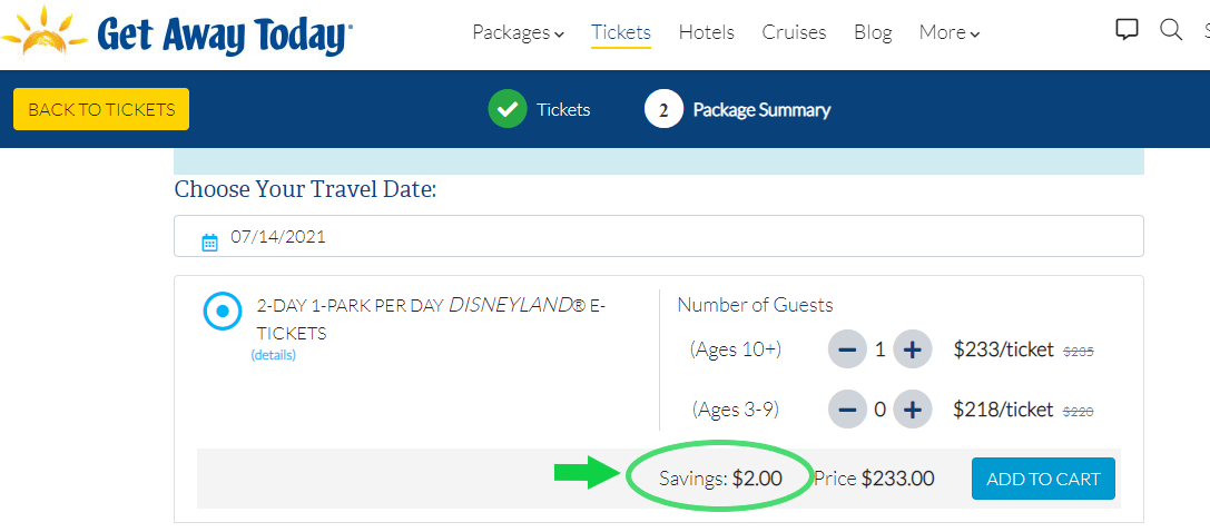 Screenshot of Get Away Today site comparing prices to Disneyland