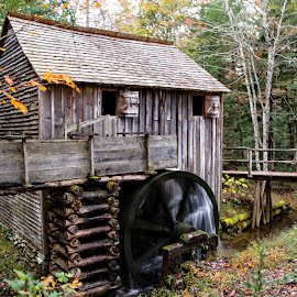 Old Mill by Richard Michael Lingo - Buildings & Architecture Public & Historical ( mill, buildings, water wheel, smoky mountains, historic )