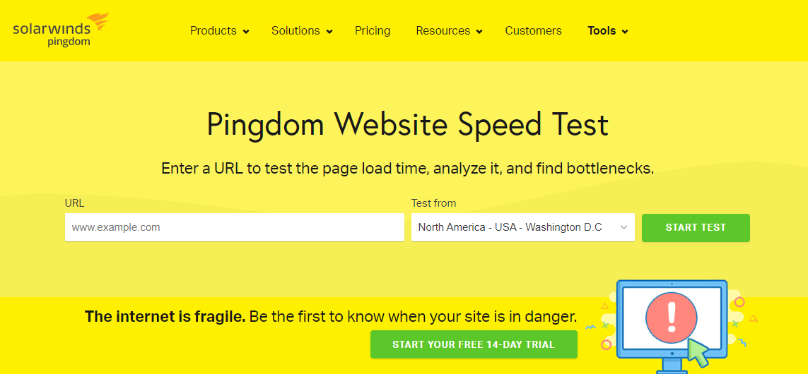 Halaman speed test website Pingdom