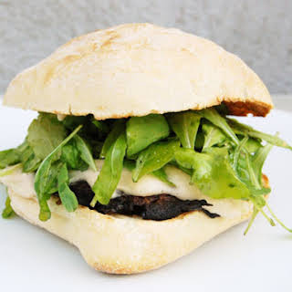 Grilled Portobello Mushroom Sandwiches with Arugula and White Bean Spread.