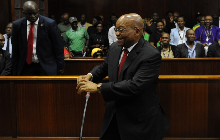 Former President Jacob Zuma at the Durban High Court on charges of corruption and fraud. File photo: FELIX DLANGAMANDLA/POOL