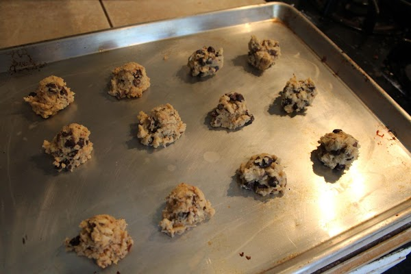 Drop by rounded tablespoons or using a cookie scoop onto prepared cookie sheets.