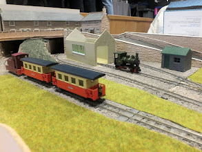 Photo: 021 Colourful Minitrains stock working on The Senga Line. The loco hauling the passenger train is a Tebee Models 3D printed saddle tank loco that runs on a Kato tram chassis .