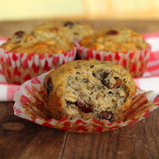 Heart-Healthy Roasted Banana Oat Muffins with Cranberries and Walnuts.