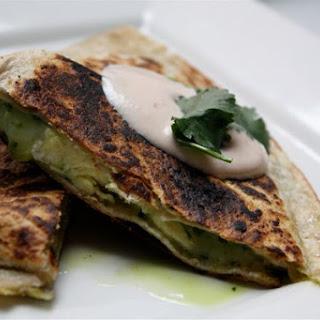 Breakfast Quesadillas with Cilantro Chimichuri and Chipotle Crema