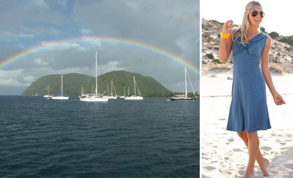 Photo: LASCANA, Strandkleid: Mit dem Strandkleid von LASCANA die karibischen Inseln besegeln. Mit Rüschen am Ausschnitt und elastischem Einsatz unter der Brust. Länge ca. 94 cm. www.baur.net/kleider3 — hier: Ein Regenbogen über einer Karibikinsel.