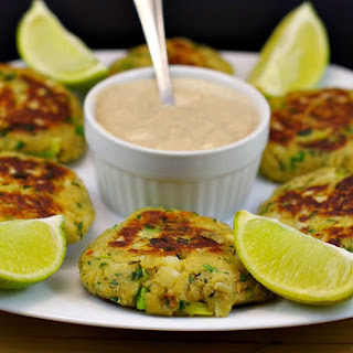 Asian Pan Fried Salmon Patties with Creamy Ginger Lime sauce.