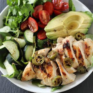 Coconut Lime Jalapeño Marinated Chicken Salad.