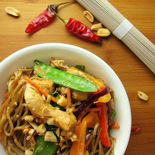 Soba Noodles with Chicken and Vegetables in a Spicy Peanut Sauce