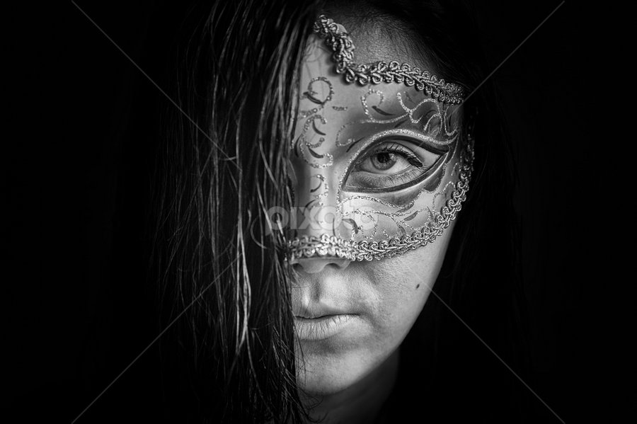 Darkness by Lubomir Gobs - People Portraits of Women ( look, f2.8, white, mask, tamron, d700, woman, dark, 28-75mm, nikon, darkness, hair, black, f4 )