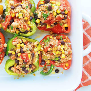 Southwestern Turkey Stuffed Peppers with Quinoa.