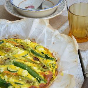 Oven Fritatta with Zucchini Flowers