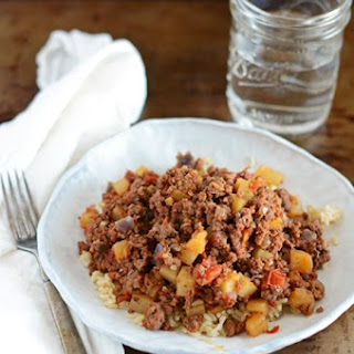 Beef Picadillo Over Brown Rice.