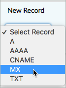 MX is selected from the New Record drop-down list.