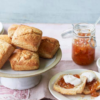 Sweet Scones With Coconut Cream And Pink Peppercorn Pineapple Jam.