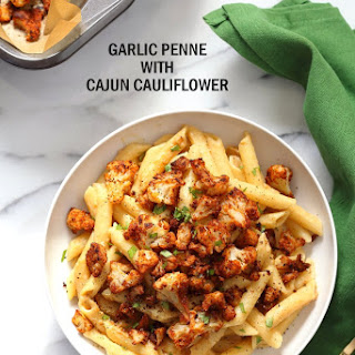 Vegan Garlic Pasta with Roasted Cajun Cauliflower Recipe